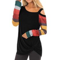 Black Cold Shoulder Color Block Long Sleeves Tops TQK210250-2