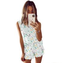 Green Symbol Print Sleeveless Pajamas Set TQK710050-11