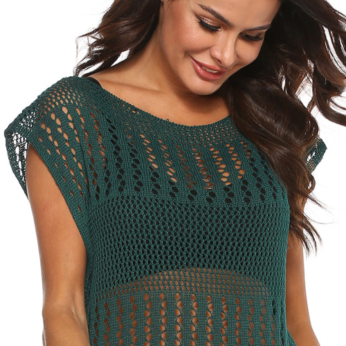 Dark Green Knitted Beach Cover Up TQS650021-36