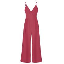 Red V Neckline Wide Leg jumpsuit