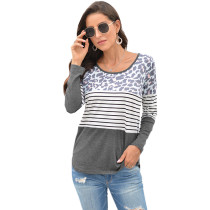 Gray Leopard And Striped Long Sleeve Top TQK210400-11
