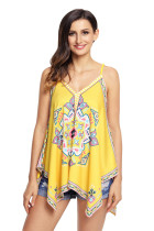 Yellow Tribal Print Summer Holiday Tank Top