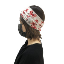 White Floral Print Headband with Buttons H00268-3