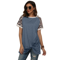 Light Blue Splice Leopard Print Short Sleeve Tees TQS210034-30