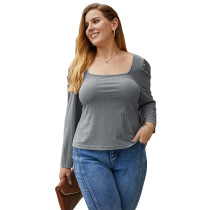 Gray Square Neck Long Sleeve Plus Size Tops TQK210419-11