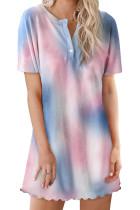 Blue Round Neck Button Tie-Dye Nightgown LC44006-5