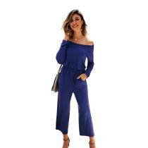 Navy Blue Back Zip Drop Shoulder Jumpsuit with Pocket