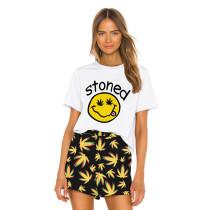 Smile Print Short Sleeve Home Wear Pajama Set TQK710038-2