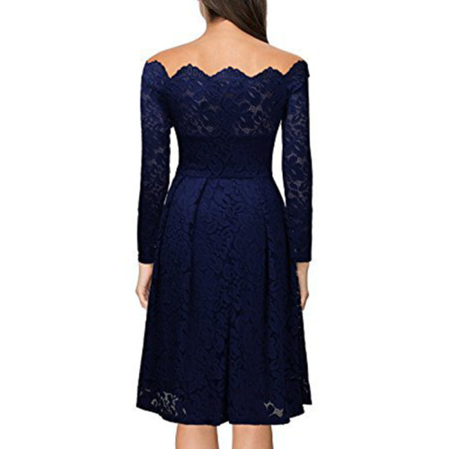 Navy Blue Scalloped Off Shoulder Long Flared Sleeve Lace Dress TQS350022-34