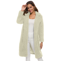 Apricot Turndown Collar Long Furry Coat TQK280041-18