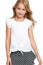 White Eyelet Sleeve Tie-front Top TZ25100-1