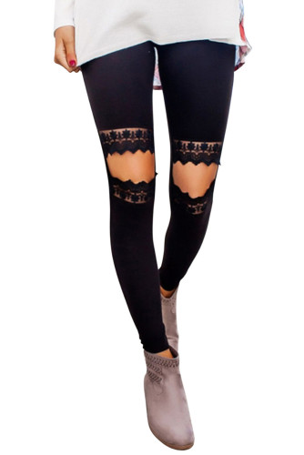 Floral Hollow Out Black Skinny Leggings LC790100-2