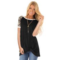 Black Leopard Short Sleeves Twist Front Tee TQK210262-2