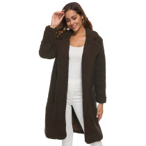 Coffee Turndown Collar Long Furry Coat TQK280041-15