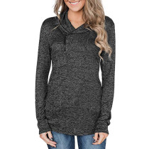 Dark Gray Zipper Heap Collar Pullover Hoodie TQK230023-26