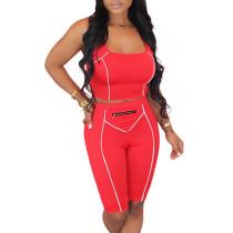Red Zip Detail Bodycon Shorts Set TQK710088-3