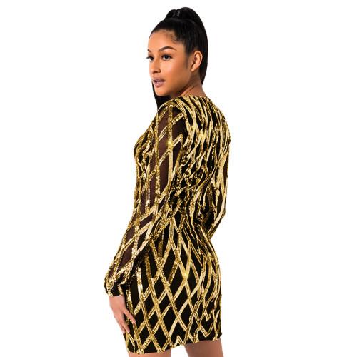 Gold Sequined V Neck Bodycon Dress TQK310224-12