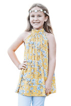 Yellow Little Girls Floral A-line Blouse TZ25095-7