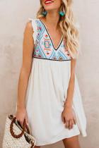 Summer Beach Floral Sleeveless V Neck Mini Dress LC221368-1