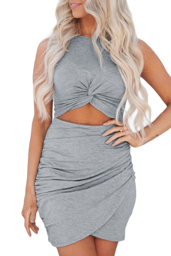 Gray Twist Knot Front Cutout Bodycon Dress LC221297-11