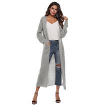Gray Split Long Cardigan With Pockets TQK270039-11