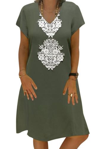 Green Summer Tribal Print V-Neck Shift Casual Dress