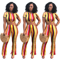 Yellow Multicolor Stripes Crop Top with Pant Set