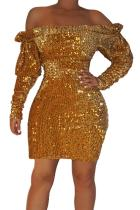 Gold Sequin Off Shoulder Club Dress LC220851-12