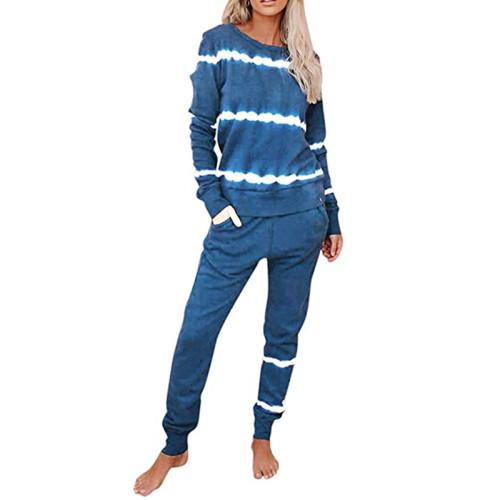 Light Blue Striped Long Sleeve Pant Set Loungewear TQK710110-30