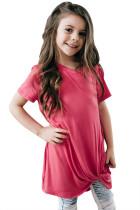 Rosy Twist Drape Short Sleeve Tee for Girls