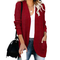 Wine Red Chunky Wide Cardigan with Pockets TQK271082-103