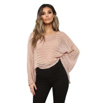 Apricot Hollow Out Long Sleeve Knitwear TQK650023-18