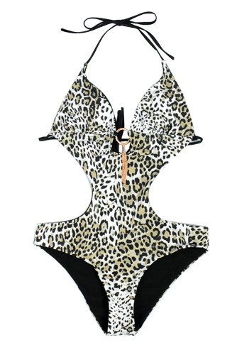 Leopard Printed Halter Hollow Out Monokini LC412265-20