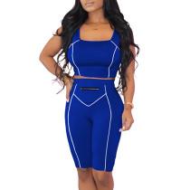 Blue Zip Detail Bodycon Shorts Set TQK710088-5