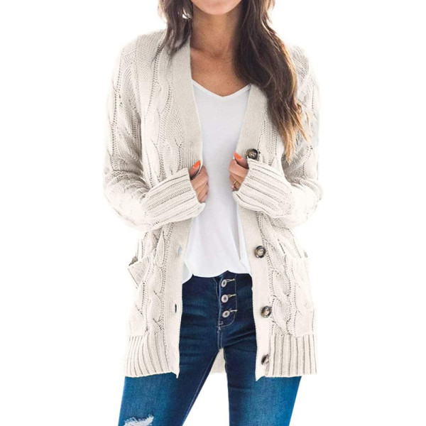 Beige Button Down Pocketed Knit Cardigan TQK271080-46