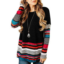 Multicolor Stripes Hem and Sleeves Black Tops TQK210251-2