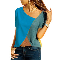 Light Blue Color Block Crew Neck Short Sleeve Tees TQS210039-30