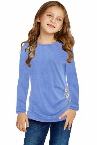 Sky Blue Little Girls Long Sleeve Buttoned Side Top TZ25122-4
