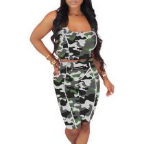Gray Camouflage Print Zip Detail Bodycon Shorts Set TQK710089-11