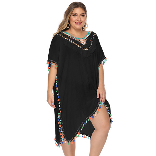 Black Crochet Pom Pom Trim Plus Size Beach Cover TQK650064-2