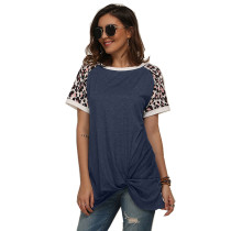 Dark Blue Splice Leopard Print Short Sleeve Tees TQS210034-34