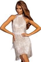 Fringed Halter Open Back Sequin Mini Dress LC221077-13