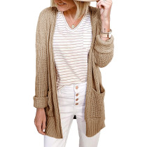 Khaki Waffle Knit Cardigan with Pockets TQK271081-21