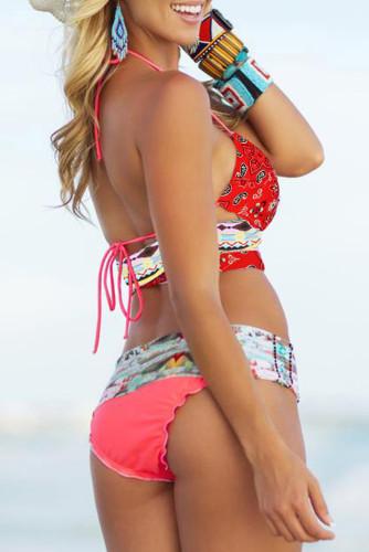 Multicolor Bohemian Tropical Print Bikini LC43048-22