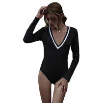 Black Cotton Blend V Neck Bodysuit TQK550198-2