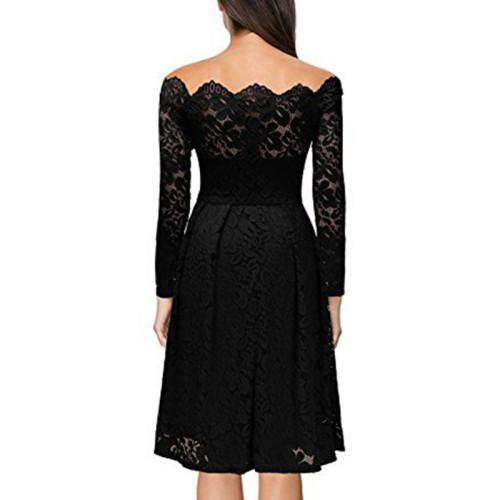 Black Scalloped Off Shoulder Long Flared Sleeve Lace Dress TQS350022-2