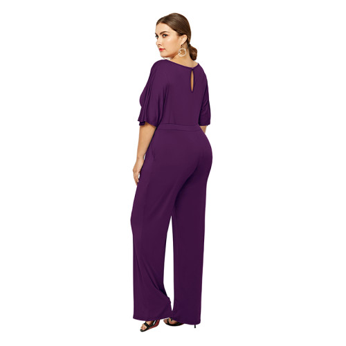 Purple Wide Leg Plus Size Jumpsuit TQK550059-8