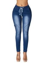 Medium Blue Drawstring Ankle Pocket Denim Jeans