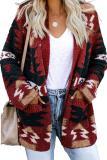 Red Moraga Pocketed Aztec Cardigan LC270165-3