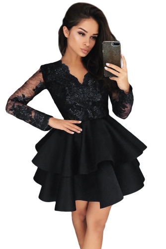 Black Sequin Embroidered Multilayer Skater Dress LC221048-2